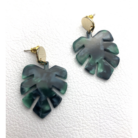 Emerald Jungle Leaf earrings