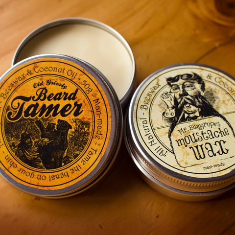 Old Grizzly Beard Tamer & Mr Bumgrope's Moustache Wax