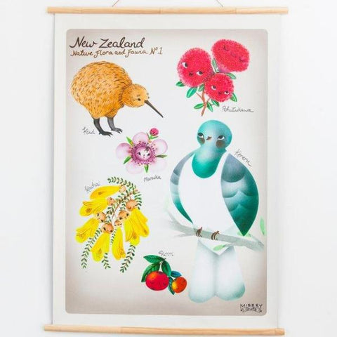 New Zealand Native Flora & Fauna Wall Art