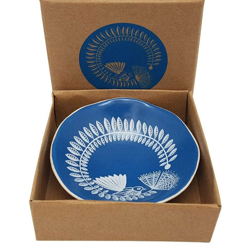 White Fantail & Pohutukawa On Blue - 7cm Porcelain Bowl