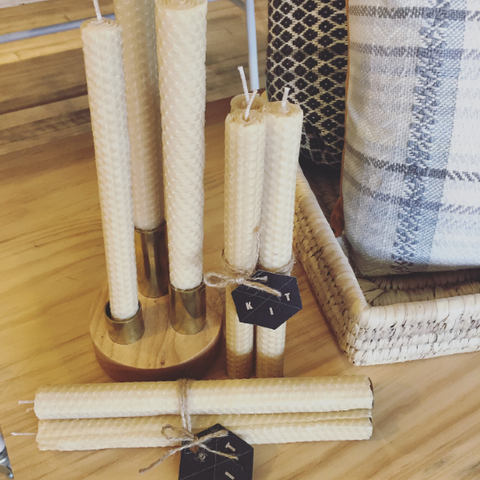 K.I.T hand rolled beeswax candles