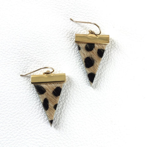 Cheetah Triangle Earrings