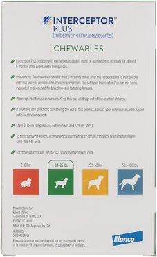 Interceptor Plus Chewable 8.1-25 lbs 6 treatments (Green Box)