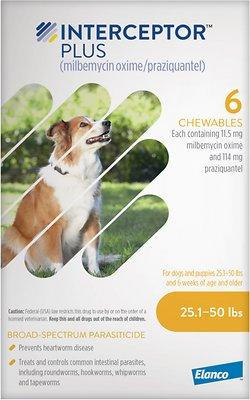 Interceptor Plus Chewable 25.1-50 lbs 6 treatments (Yellow Box)