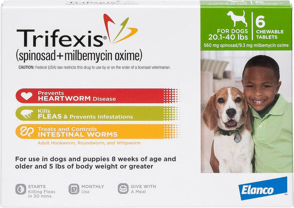 Trifexis Chewable 20.1-40 lbs 6 treatments (Green Box)