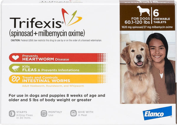 Trifexis Chewable Tablets 60.1-120 lbs 6 treatments (Brown Box)