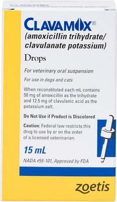 Clavamox (Amoxicillin/Clavulanate Potassium) Oral Suspension 15-mL