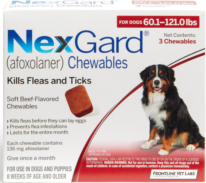 NexGard Chewable Tablets for Dogs 60.1-121 lbs