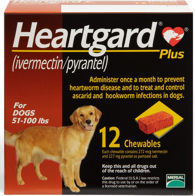Heartgard Plus Chewable Tablets for Dogs 51-100 lbs (Brown Box)
