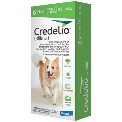 Credelio Chewable Tablet 25.1-50.0 lbs 6 treatments (Green box)