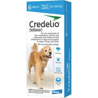 Credelio Chewable Tablets 50.1-100.0 lbs 6 treatments (Blue box)