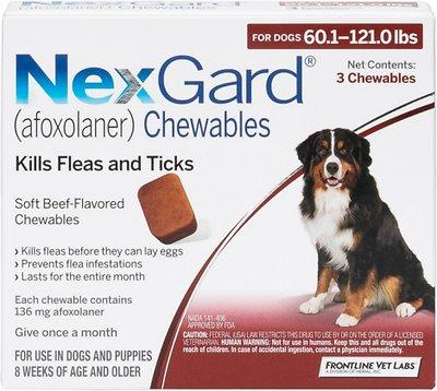 NexGard Chewable Tablets for Dogs 60.1-121 lbs (Red Box)