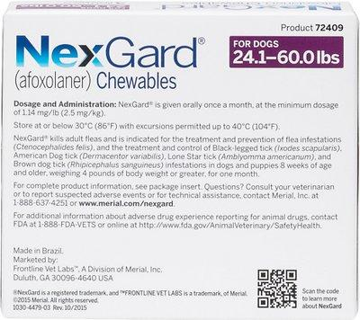 NexGard Chewable Tablets 24.1-60 lbs (Purple Box)