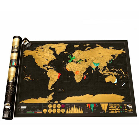 Creative large size black gold world travel scratch map