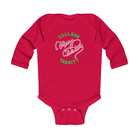 College Christmas Infant Long Sleeve Bodysuit