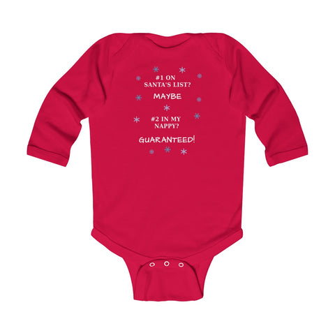 Number 1 on Santa's List Number 2 in my Nappy Red Infant Long Sleeve Bodysuit