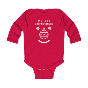 My First Christmas Face WT Infant Long Sleeve Bodysuit