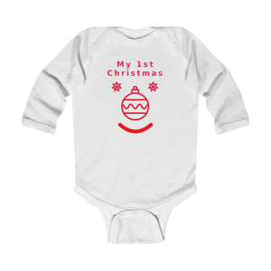 My First Christmas Face Infant Long Sleeve Bodysuit