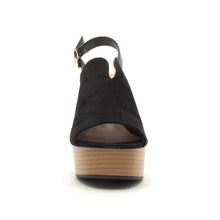 Load image into Gallery viewer, Banbi Black Suede Sandals