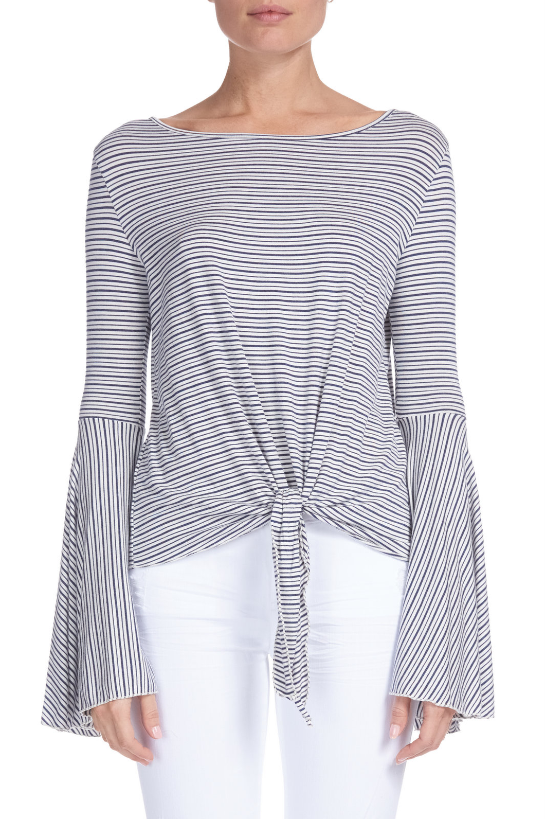 All Aboard Striped Bell Sleeve Top