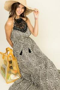 Feisty Leopard Halter Neck Maxi