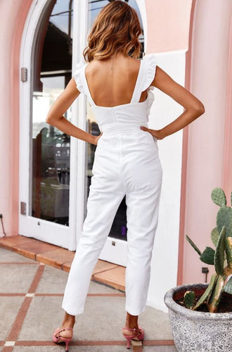 Serenade Me Ruffle Strap Jumpsuit White