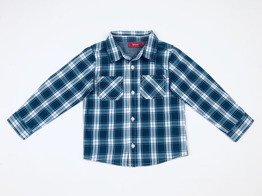 Sprout Boys Blue Checkered Polo