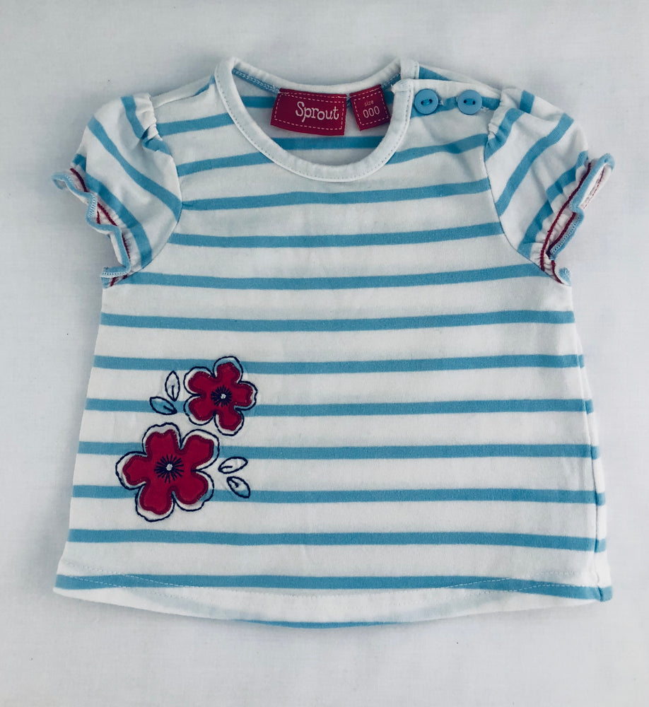 Sprout Baby Girls Blue Stripe Shirt