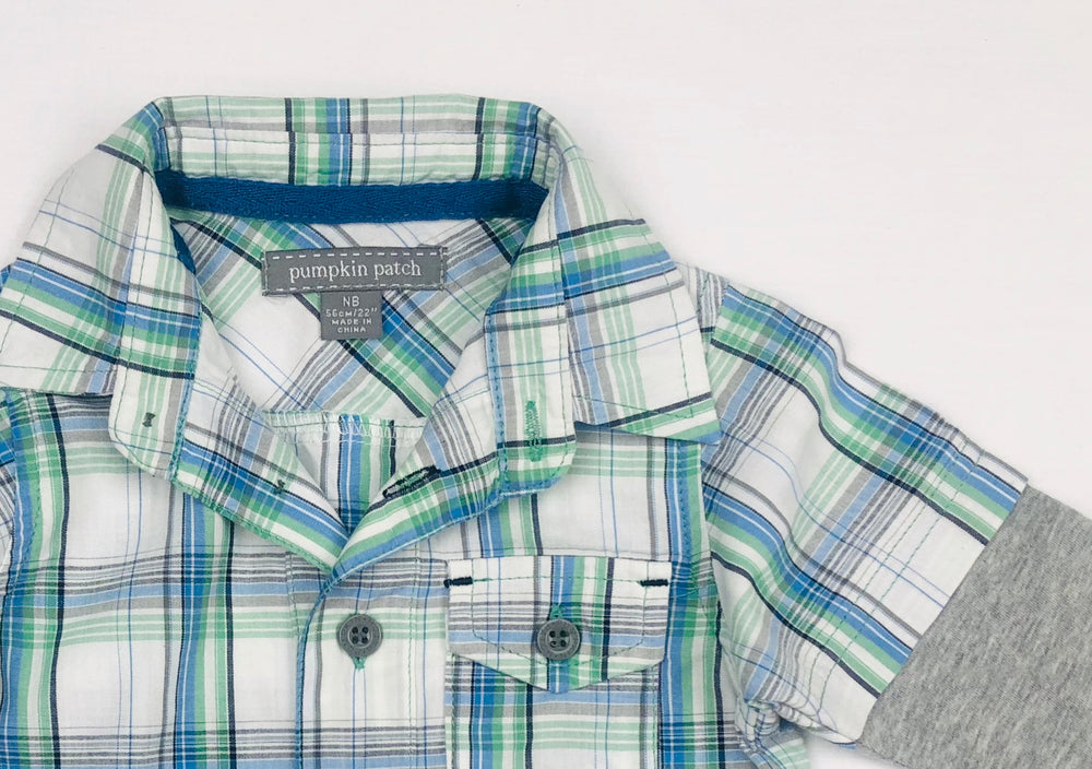 Pumpkin Patch Plaid NB Polo Shirt