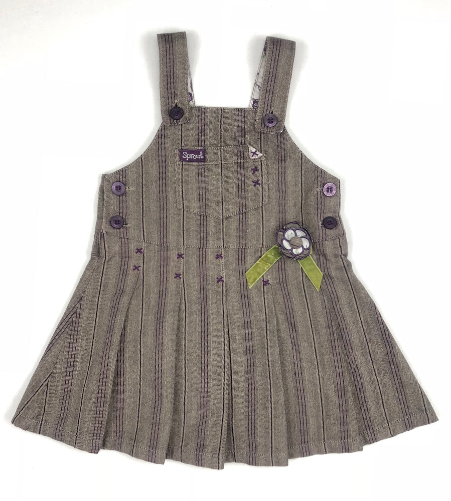 Sprout Brown Purple Stripe Overalls