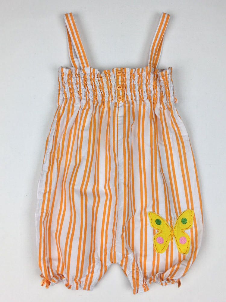 Plum Baby Orange Stripe Romper
