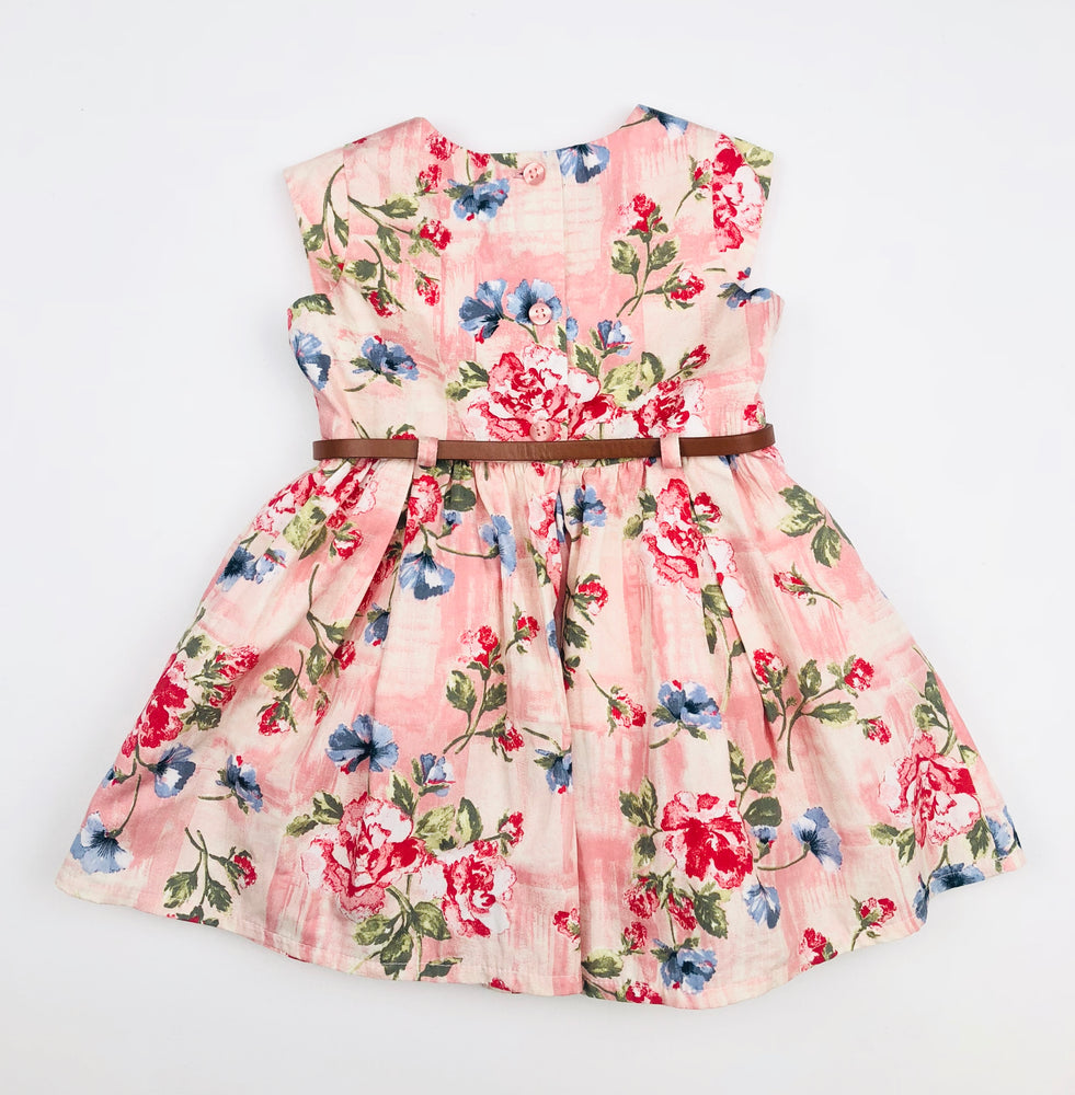 Next Coral Floral Dress w/ belt
