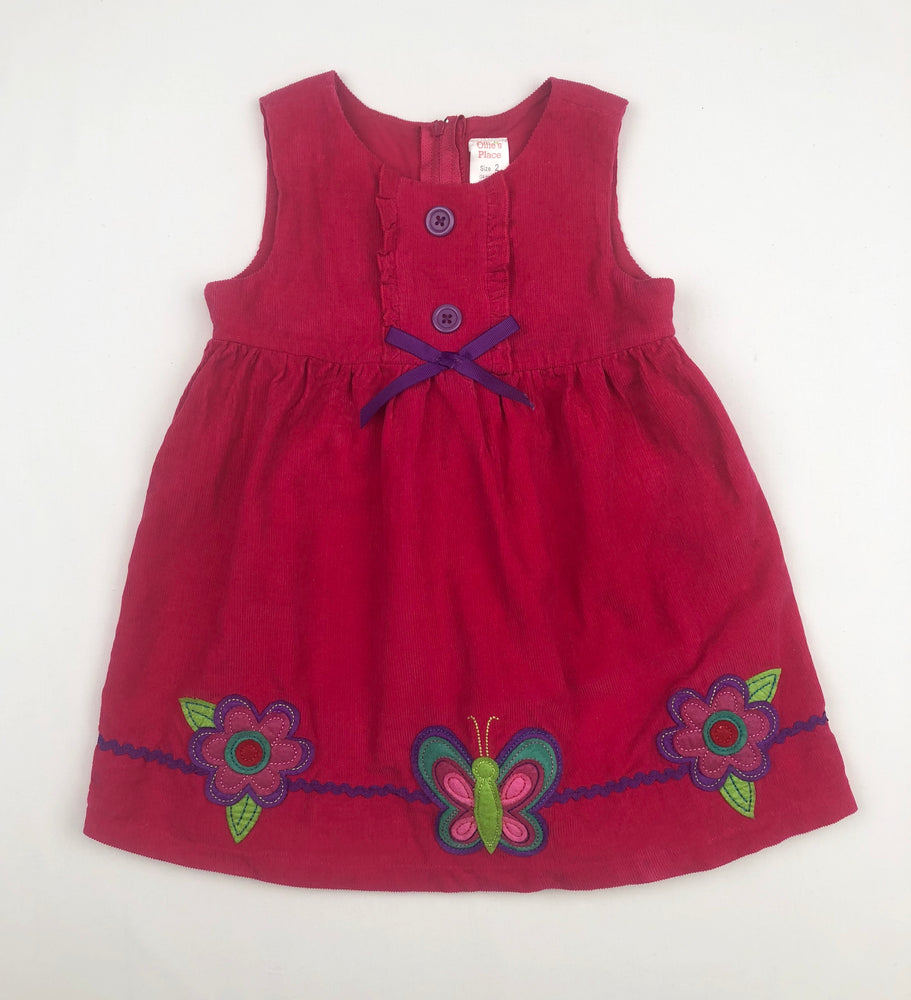 Ollie's Place Corduroy Fuchsia Dress