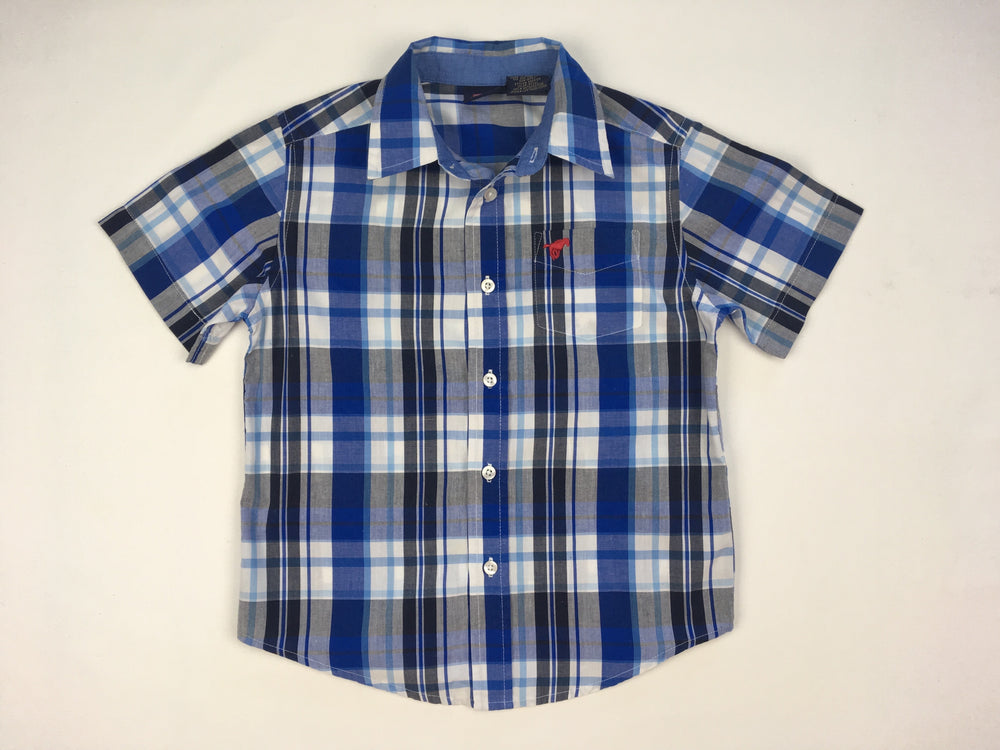 Wrangler Boys Blue Plaid Polo Shirt