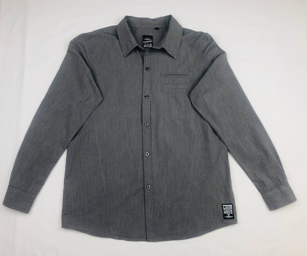 Bauhaus Grey Pin Stripe Polo Shirt