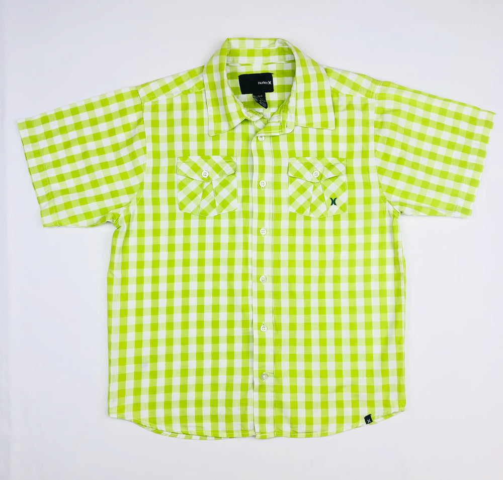Hurley Boys Plaid Apple Green Polo Shirt