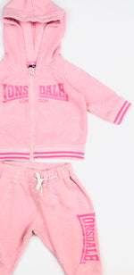Lonsdale Girls Trackies Set Peach-Pink