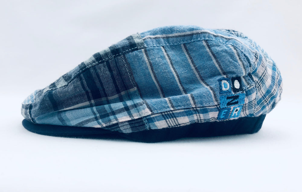 Dozer Baby Plaid Blue French Cap