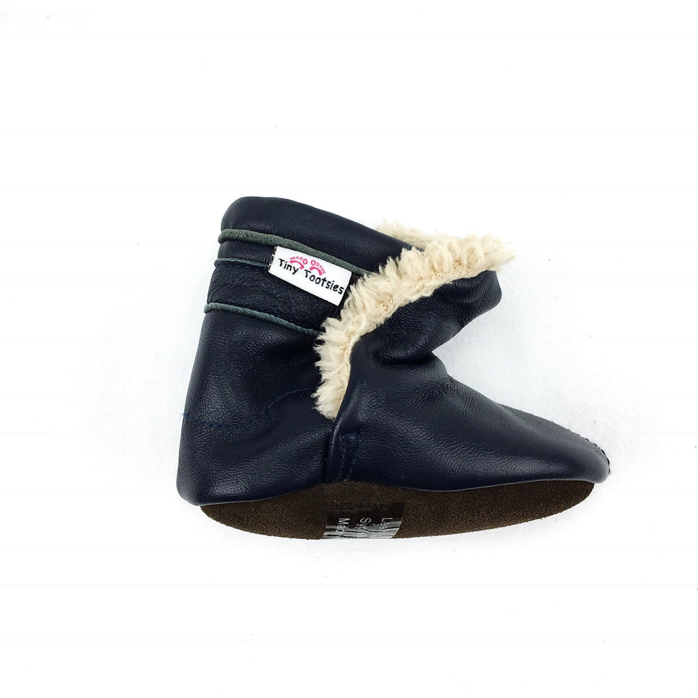Tiny Tootsies Leather Booties Navy