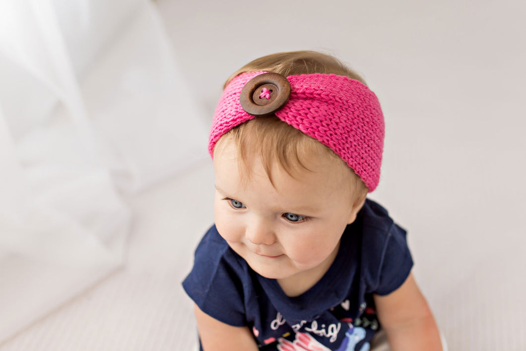 Blushing Heart Knit Button Headband 3pk