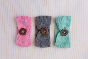 Tickles & Mint Knit Button Headband 3pk