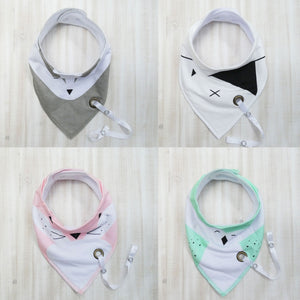 Dribble Bibs with Binky Clip 4packs