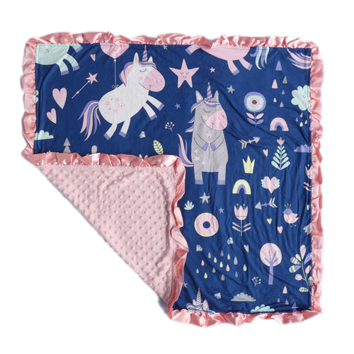 Peach Unicorn Minky Nonni Blanket W/ Toy Tether
