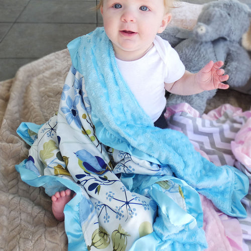 Blue Flower Minky Nonni Blanket w/ Toy Tether
