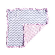 Load image into Gallery viewer, Pink Chevron Minky Nonni Blanket W/ Toy Tether