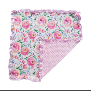 Pink Flower Minky Nonni Blanket w/ Toy Tether