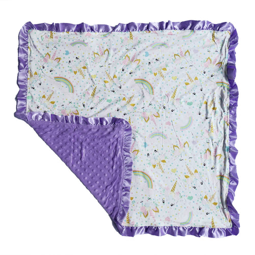 Lavender Unicorn Minky Nonni Blanket W/ Toy Tether