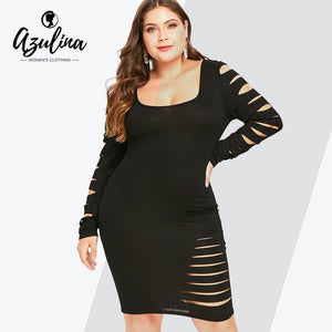 e66c8da5e60 Plus Size Sexy Ladder Cut Out Sleeve Ripped Bodycon Dress