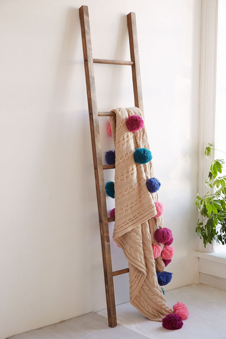 Wooden blanket storage ladder , rustic ladder, reclaimed ladder, decorative ladder, blanket ladder