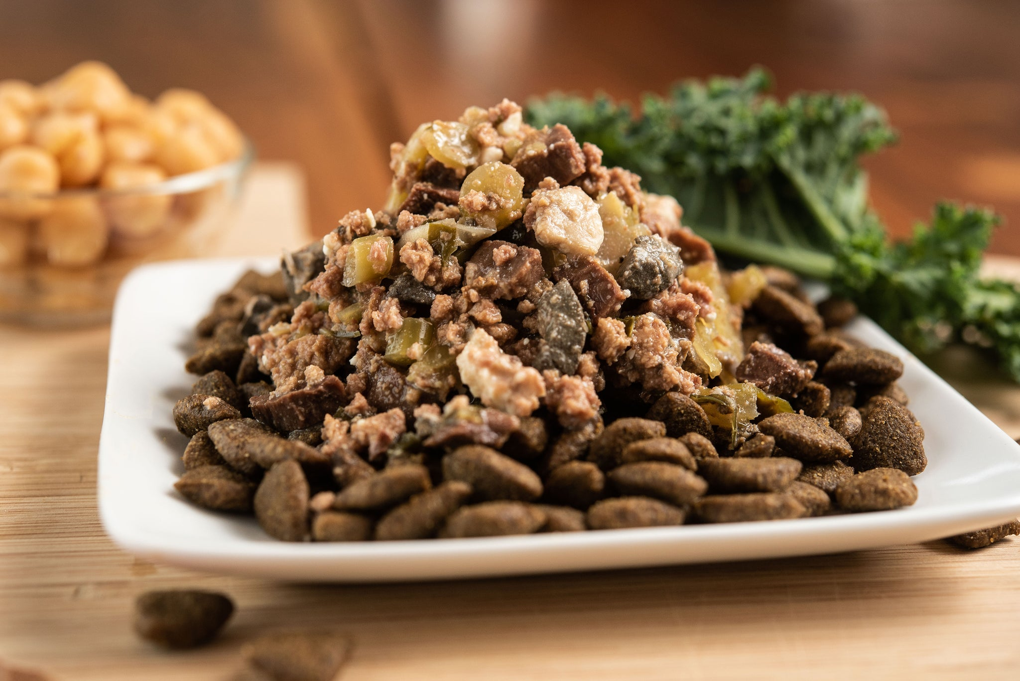 Lamb & Chickpea Kibble Topped With Beef, Beef Liver & Kale